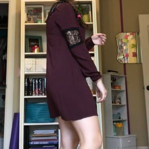 maroon lacey dress